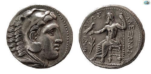 KINGS OF MACEDON ALEXANDER III, 336-323 BC SILVER AMPHIPOL COIN