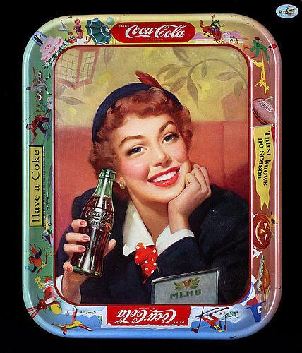 Excellent Vintage Coca-Cola Tin Tray - Menu Girl - 1953