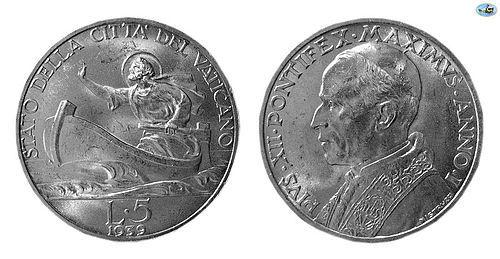 ITALY, VATICAN, PIUS XII, SILVER 5 LIRA, YEAR1, ROME MINT, 1939 KM-28
