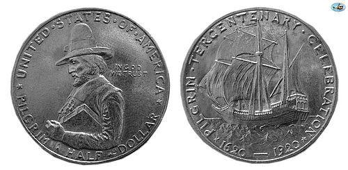 U.S. PILGRIM TERCENTENARY CELEBRATION, SILVER HALF DOLLAR, 1620-1920