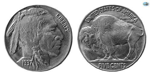 U.S. LIBERTY, FIVE CENTS BUFFALO 1937 NICKEL, CHOICE BU