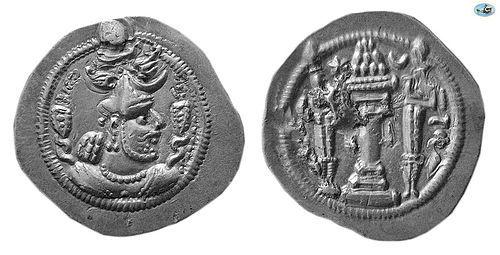 SASANIAN KINGS. PEROZ I, AD. 457/9–484 . SILVER DRACHM, CHOICE EF