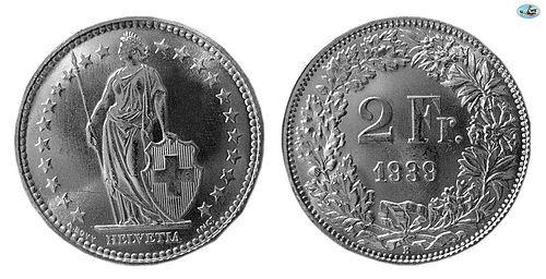 SWITZERLAND, HELVETICA , SILVER 2 FRANCS, 1939, CHOICE UNC, LUSTROUS