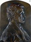 1900 Abraham Lincoln Bronze Plaque by Italian Luini Costanzo