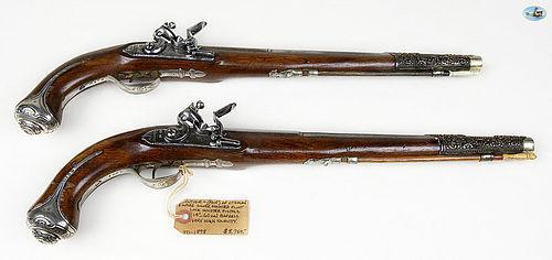 Pair of Ottoman Empire Silver Mounted Flintlock Holster Pistols