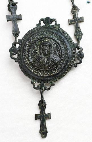 12th Cent. Byzantine Bronze Christ Gasbal Necklace Greek Inscription