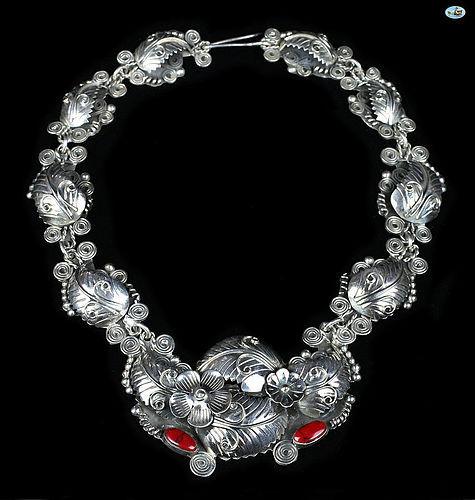 Vintage 950 Silver Plateria Daniela Mexico Necklace w/ Red Jewel