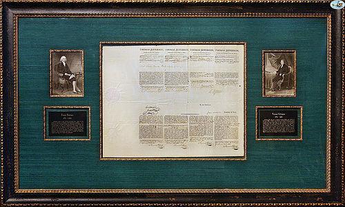 Fabulous Framed Thomas Jefferson & James Madison Signed Documents