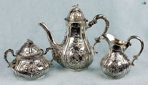 1890 German Hanau Silver Three Pieces Repoussé Tea and Coffee Set