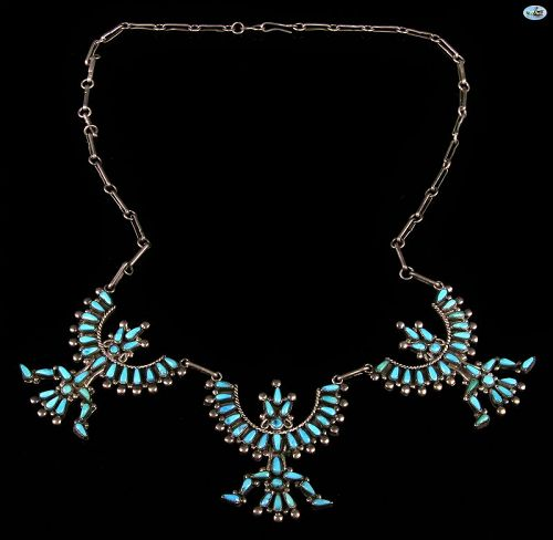 Vintage Native Indian Sterling Silver Dancers Turquoise Necklace