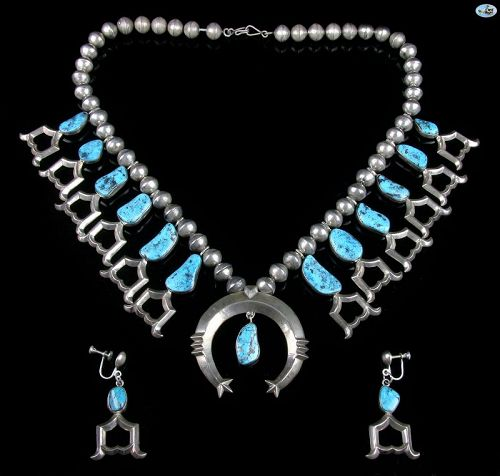 Navajo Native Indian Sterling Silver Necklace Earrings Morenci Set
