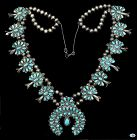 Large Vintage Native American Indian Turquoise Silver Necklace