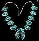Vintage Native American Indian JJP Turquoise Sterling Silver Necklace