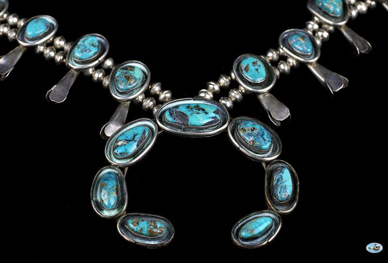 Vintage Native American Indian Sterling Silver Arch Turquoise Necklace