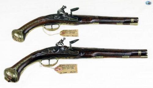 Pair of Dutch Flintlock Holster Pistols by Dulachs