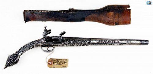 Albanian Silver Stocked Miquelet Flint Pistol Original Leather Holster