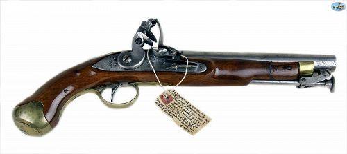 Antique 1800s British Military Light Dragoon Flintlock Pistol