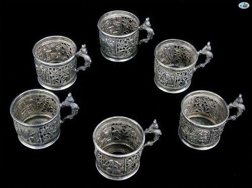 Persian Qajar Persepolis 1800 Shiraz Six Piece Silver Tea Glass Set