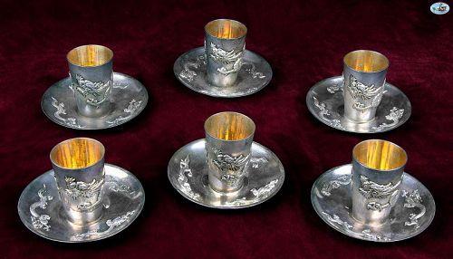 WAI KEE Asian Hong Kong Set of Silver Gilt Dragon Liquor Cups Saucers