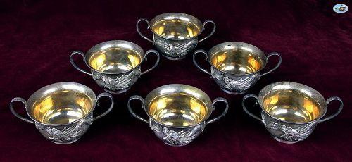 WAI KEE 90 Asian Hong Kong Set of 6 Silver & Gilt Dragon Tea Cups