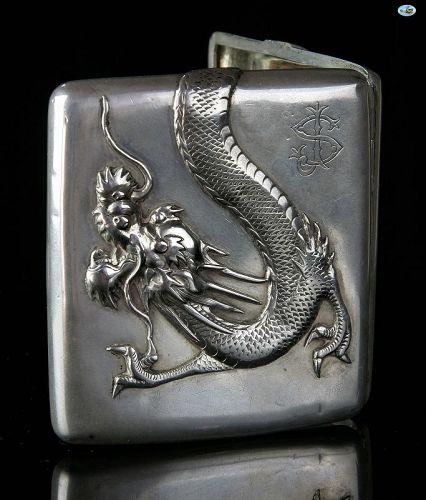 1900 Chinese Asian Silver Dragon Cigarette Case Hallmark 'S'
