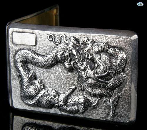 1900 Chinese Asian Silver & Gilt Dragon Cigarette Case Repoussé