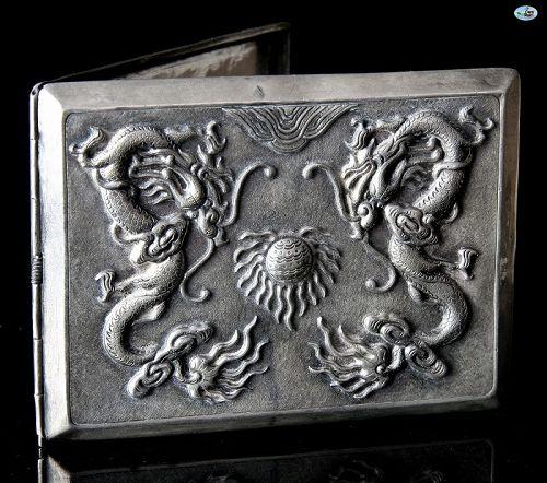 Chinese Asian Silver Hallmark Double Dragon & Sun Cigarette Case