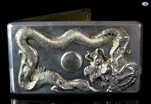 1900 Chinese/Japanese Solid Silver Raised Dragon Cigarette Case