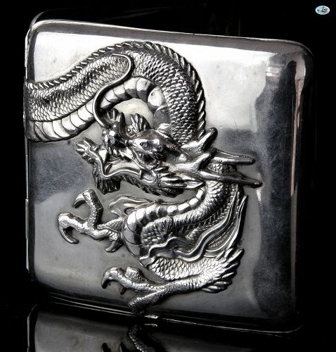 Antique Chinese Export Sterling Silver Double Dragon Cigarette Case