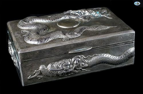 Antique 1900 Asian Chinese Silver Stamped 85 Dragon & Sun Box