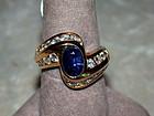 Ceylon Blue Sapphire & Diamond Solid Gold Ring 18K.