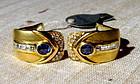 Dashing Genuine Blue Sapphire-Diamond Earrings 18K Gold