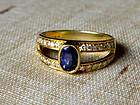 Fine Genuine Blue Sapphire-Diamond Ring 18K. Gold