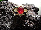 18K. Solid Gold Ring set with Genuine Ruby-Diamond-Onyx