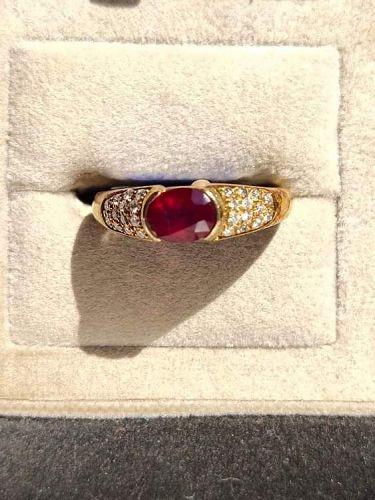 Genuine Ruby-Diamond Ring set in solid 18K. Gold