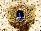 Genuine Blue Sapphire-Diamond 18K. Gold Filigree Ring