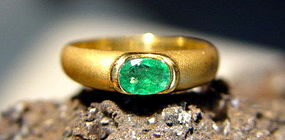 Solid 18K. Sandblasted Gold Ring with Emerald