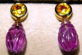 Finely Carved Amethyst & Yellow Sapphire Earrings 18K.