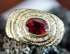 Solid 18K. Gold Ring with Ruby & Diamonds