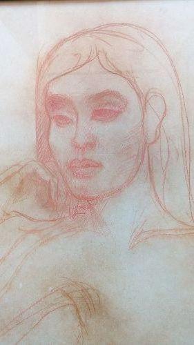 Original Signed Sanguine Portrait by Theo Meier, 1975