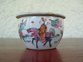 QING Dynasty Polychrome Porcelain Cricket Box