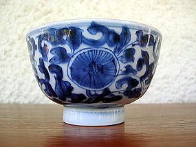 Qing Dynasty Blue & White Porcelain Bowl with Markings
