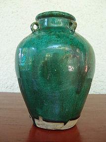 Ceramic Vase with Apple Green Glaze, 18/19th Century