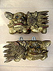 Pair of Gilt Wooden Hand Carved Foo Lions, 19th Century