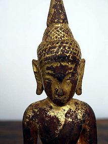 Hand Carved Gilt Lanna Wooden Buddha, 19th Cent. Siam
