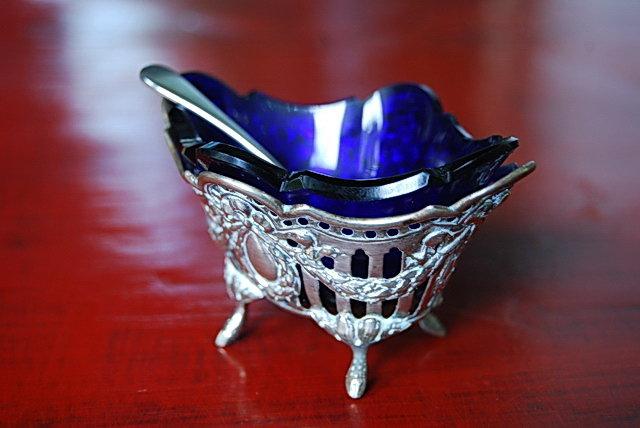 19th Cent. Silver Salt Cellar / Cobalt Blue Glass Liner