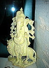 Magnificent Serpentine GANESHA-GANESH Carving w. Lion