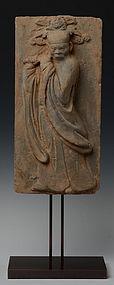 JIN DYNASTY SHANXI TOMB BRICK OF FLUTIST (1115-1234 AD)