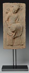 JIN DYNASTY SHANXI TOMB BRICK OF DRUMMER (1115-1234 A.D.) CHINA