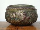 Ceremonial Repousse Relief Copper-Brass-Bronze Bowl